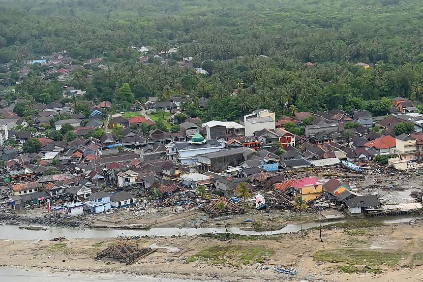 Homes and shops near the beachfront in Pandeglang, in Banten province, were destroyed by the big wave that swept in suddenly on Saturday night. The tsunami struck along the rim of the Sunda Strait between Java and Sumatra islands.