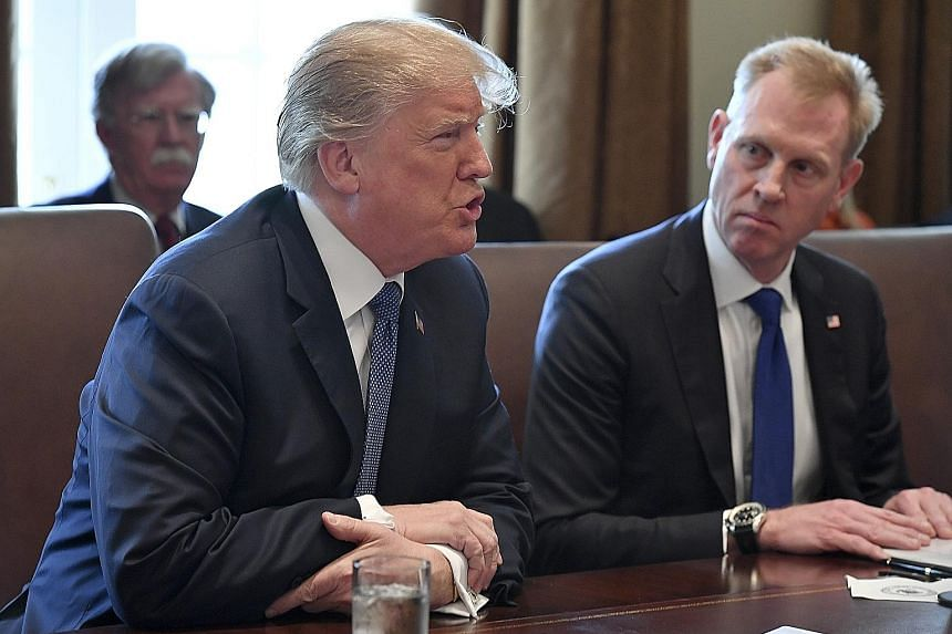 US President Donald Trump with Mr Patrick Shanahan in an earlier photo. Mr Shanahan will be acting Pentagon head come Jan 1.