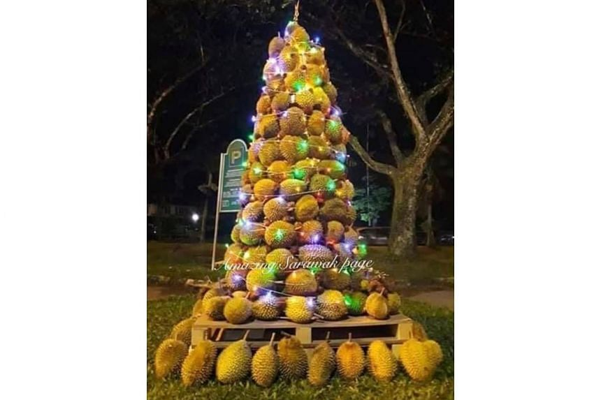 Made up of more than 200 durians and complete with chasing lights, decorations and a star tree-top, the tree was put together by church members during a Christmas Eve party.