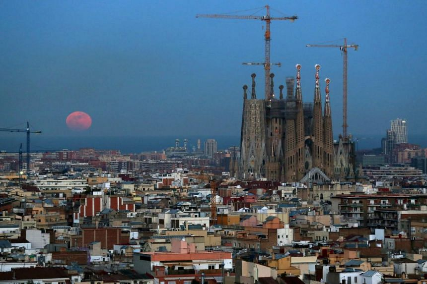 File photo showing the Sagrada Familia Basilica, as well as other buildings, in the Spanish city of Barcelona, on Jan 31, 2018.