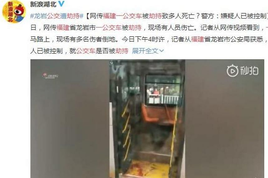 In a video clip posted on micro-blogging site Weibo, blood is seen on the floor of a bus that was hijacked in Fujian, China, on Dec 25, 2018.