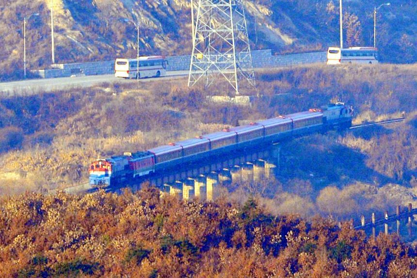 A special train carrying a South Korean delegation heads to the North Korean border town of Kaesong, on Dec 26, 2018.