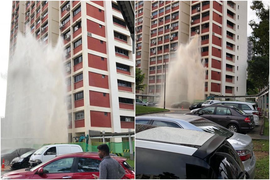 The burst pipe at Block 101 Potong Pasir Avenue 1 sent water shooting about six storeys into the air, on Dec 26, 2018.