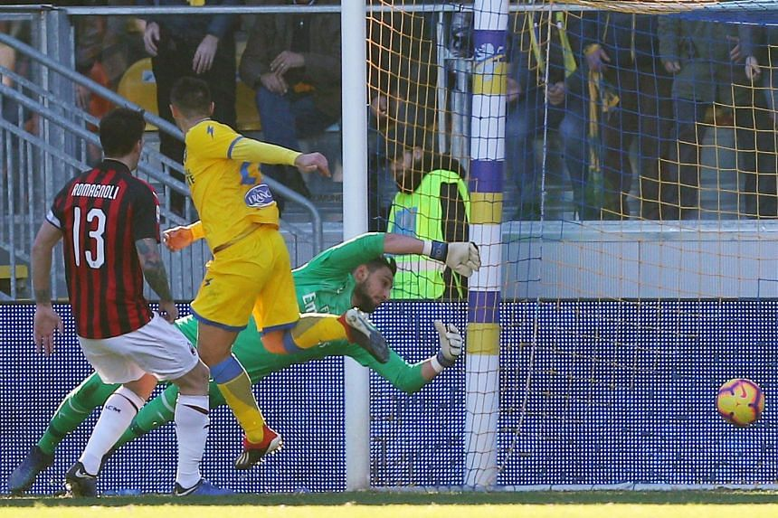 While the 0-0 stalemate was Milan's fourth straight game without scoring, goalkeeper Gianluigi Donnarumma rescued a point for them with an excellent save from Frosinone's Camillo Ciano at the Benito Stirpe stadium on Dec 26, 2018.