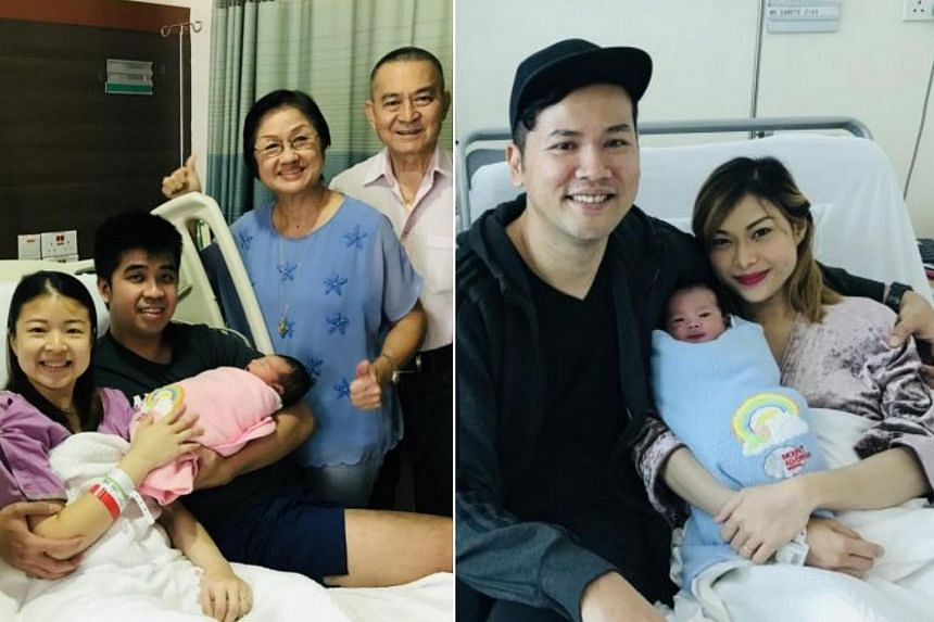 (Left) Baby girl Charlie Choong and her parents, Ms Chua Si Qi and Mr Choong Yong Thai, accompanied by grandparents Mr and Mrs Choong. (Right) Baby boy Mohamed Hanif and his parents, Mr Ibrahim Mohamed Ridwan and Ms Canete Eunice Sara Clave.