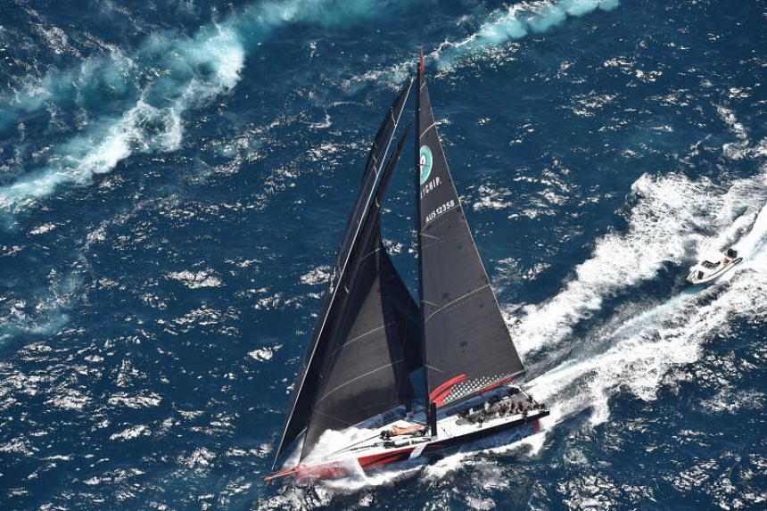 An aerial view shows Comanche in action during the start of the Sydney to Hobart Yacht race in Sydney, Australia on 26 Dec, 2018.