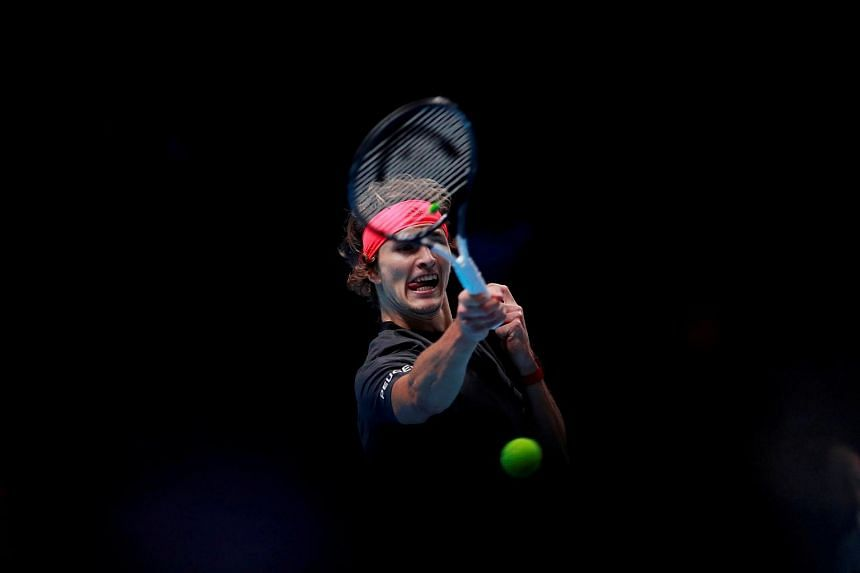 German tennis player Alexander Zverev in action during the semi-final match against Switzerland's Roger Federer at the ATP Finals on Nov 17, 2018.