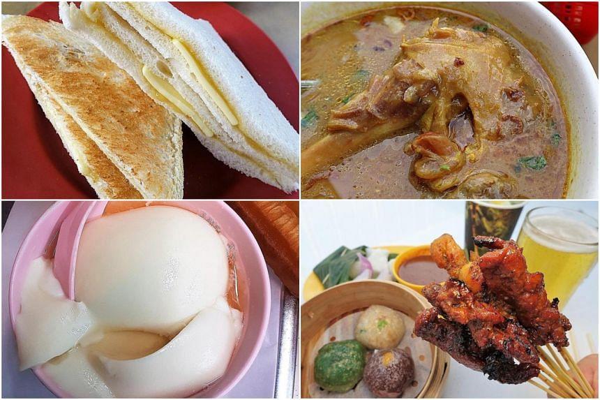 (Clockwise from top left) Roti kaya at Keng Wah Sung Coffeeshop, sup kambing at M A Deen Biasa, satay and dim sum at  Gluttons Bay and tau huay at Rochor Beancurd.