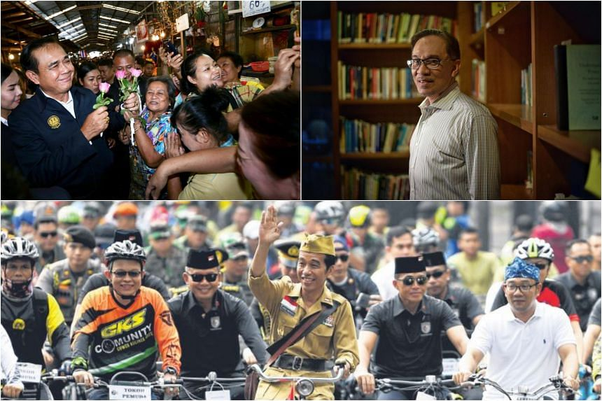 (Clockwise from top left) Thai Prime Minister Prayut Chan-o-cha receives flowers from supporters, Datuk Seri Anwar Ibrahim, and Indonesian President Joko Widodo greets the crowds in Bandung.