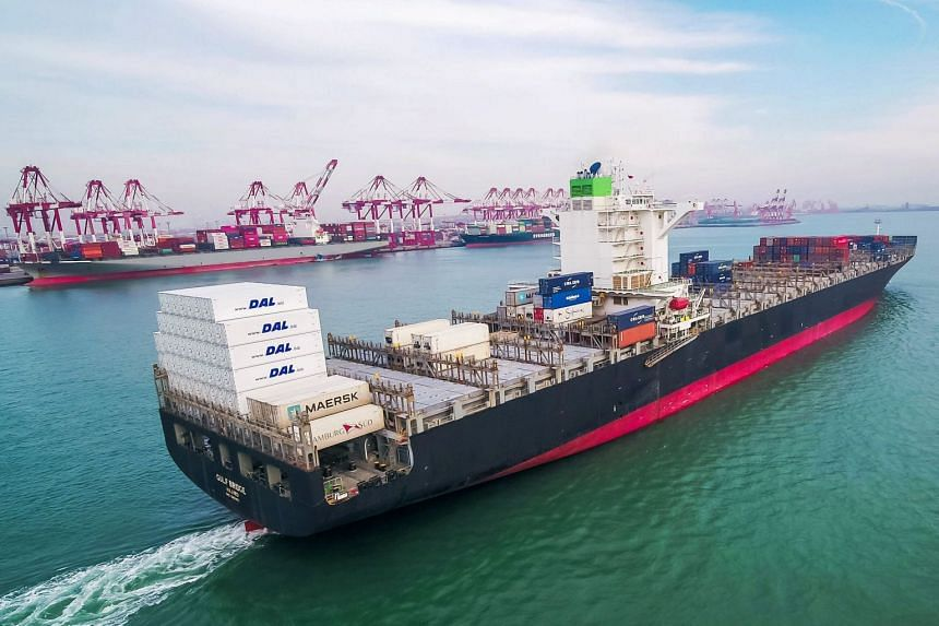 A cargo ship is seen at a port in Qingdao in China's eastern Shandong province.