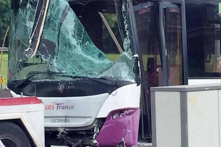 One of the buses involved in the accident along Tampines Avenue 10 on Dec 26.