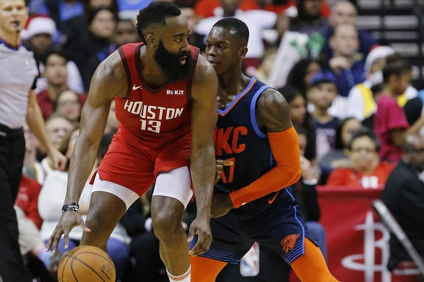 James Harden recorded his seventh consecutive 30-plus-point game, as the Rockets beat the Oklahoma City Thunder 113-109.
