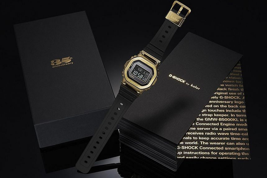 The special-edition GMW-B5000KL watch (above) commemorates the 35th anniversary of the popular Casio G-Shock. The F-91W (left) was the first watch designed by Mr Ryusuke Moriai (far left), the chief designer of the G-Shock.