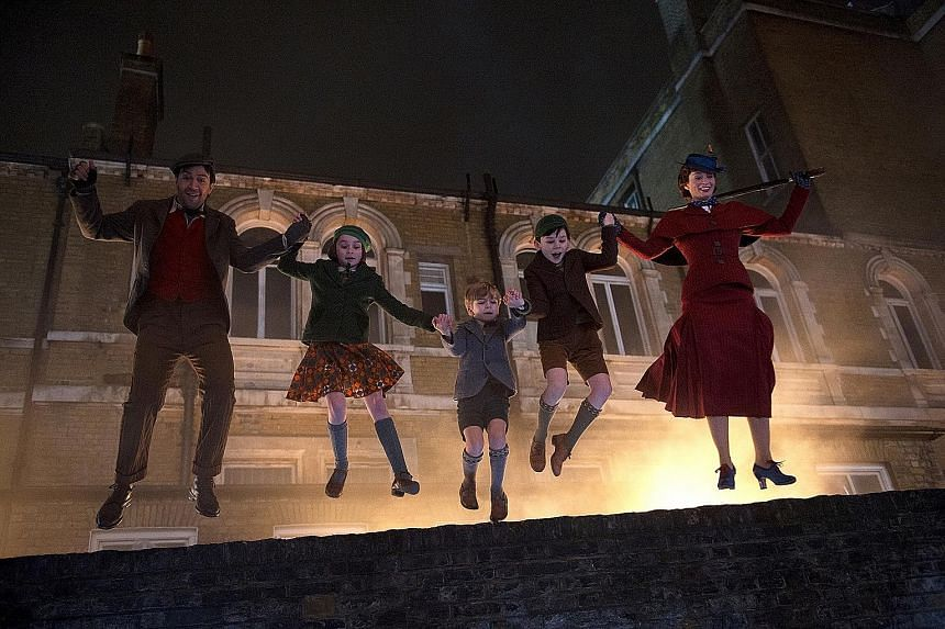 (From left) Lin-Manuel Miranda, Pixie Davies, Joel Dawson, Nathanael Saleh and Emily Blunt in Mary Poppins Returns. Louise Grinberg and Lee Hong-chi star in Cities Of Last Things.