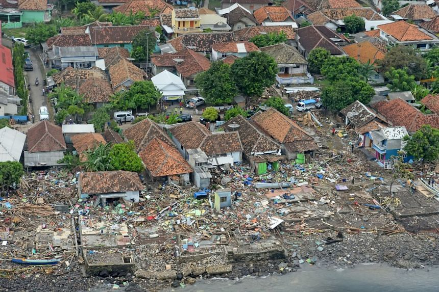 Aerial view of a damaged area following the tsunami at Way Muli village in Rajabasa, South Lampung, Indonesia, on Dec 25, 2018.