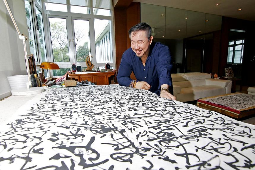 Mark Chan will showcase about 50 new works, featuring paintings and calligraphy from the past 2 years, at the Esplanade from Jan 18 to March 2019.