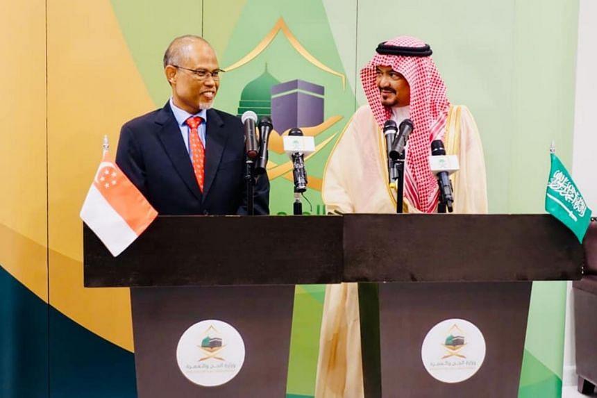 Minister-in-charge of Muslim Affairs Masagos Zulkifli with Saudi Minister of Haj and Umrah, Dr Mohammed Saleh Taher Benten, in Saudi Arabia.