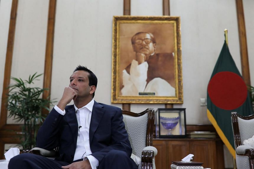 Sajeeb Wazed looks on during an interview with Reuters at the Prime Minister's residence in Dhaka, Bangladesh.