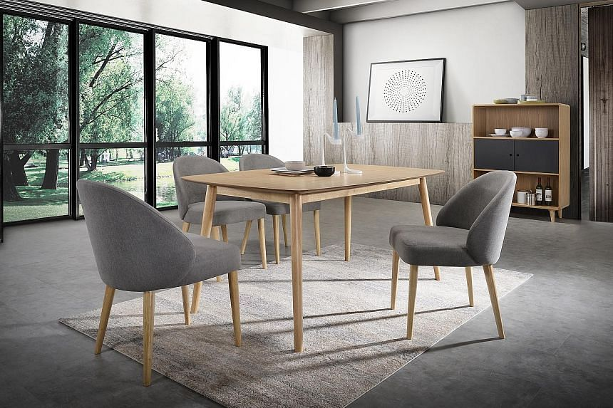 A five-piece Emilio dining set ($999, above) from Courts.