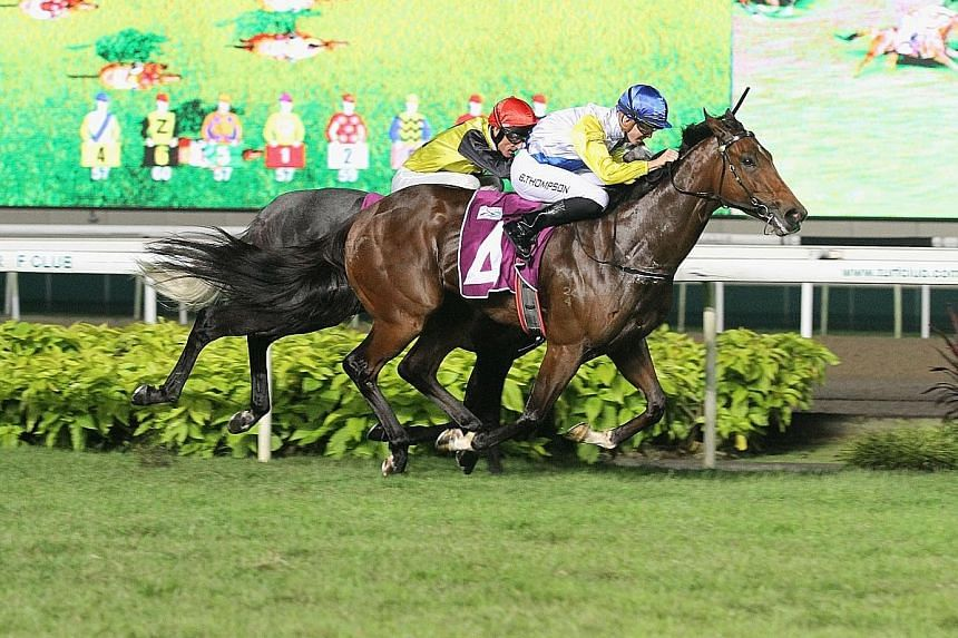 Singapore-bound Australian youngster Ben Thompson steering Mister Yeoh (No. 4) to victory in the $500,000 Group 2 EW Barker Trophy over 1,400m at Kranji on Nov 9. The 21-year-old began his riding career in May 2014.