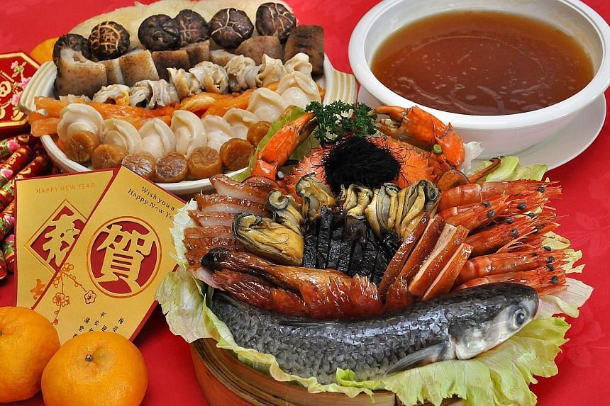 Ban Heng's Pen Cai (above), featuring ingredients such as prawns, roast chicken, abalone and sea cucumber, and Buddha Jumps Over The Wall are available for home delivery.