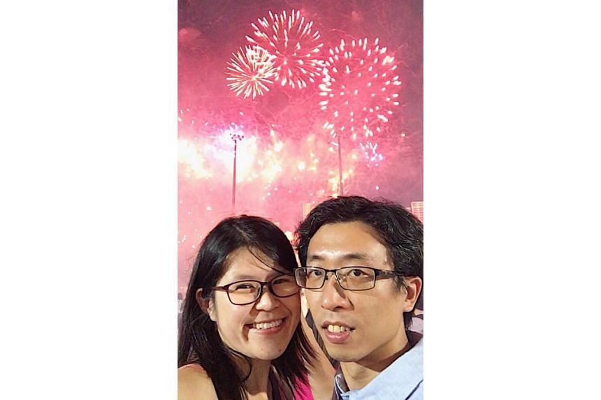 A selfie of Ms Sherline Lee (left) and her husband Steven Ng at the River Hongbao event at The Float @ Marina Bay in February, 2018.