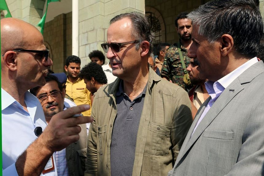 Retired Dutch general Patrick Cammaert (centre), the head of a UN advance team charged with monitoring the ceasefire, arrived in the Red Sea port city of Hodeida on Dec 24, 2018.