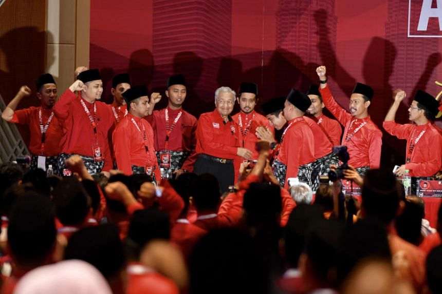 Malaysian Prime Minister Mahathir Mohamad with youth delegates at his Parti Pribumi Bersatu Malaysia's annual general assembly on Dec 29, 2018.