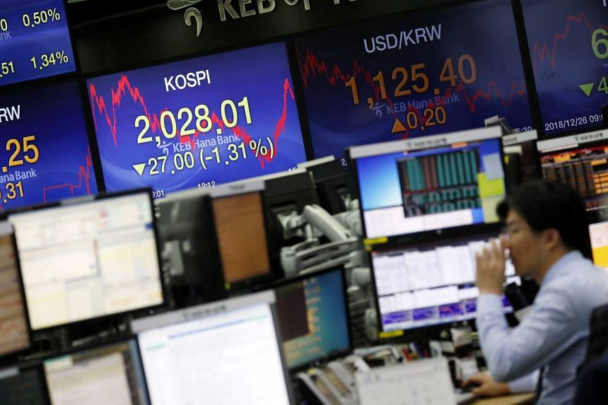 Asian stocks, South Korea's Kospi, mostly ticked higher on Dec 28 to end a roller-coaster week of trading.