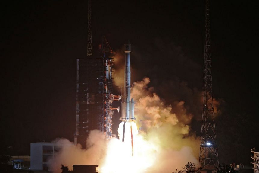 Two Beidou-3 satellites on a single carrier rocket taking off from the Xichang Satellite Launch Centre in Sichuan province on Nov 19. Most smartphone chips sold globally will be compatible with Beidou.