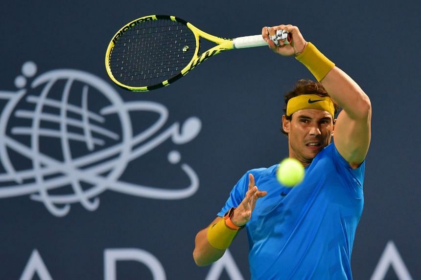 Nadal returning the ball to South Africa's Kevin Anderson.