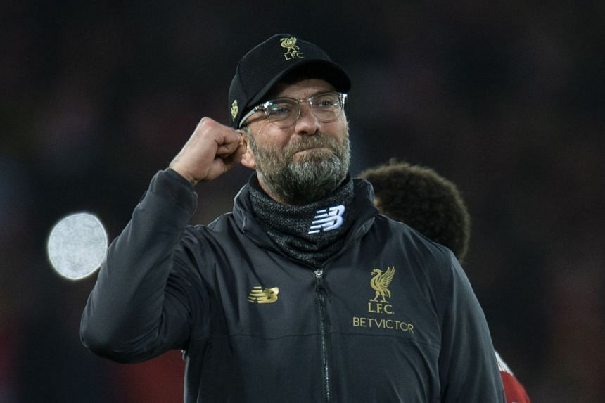 Liverpool's manager Juergen Klopp reacts after his team's win.