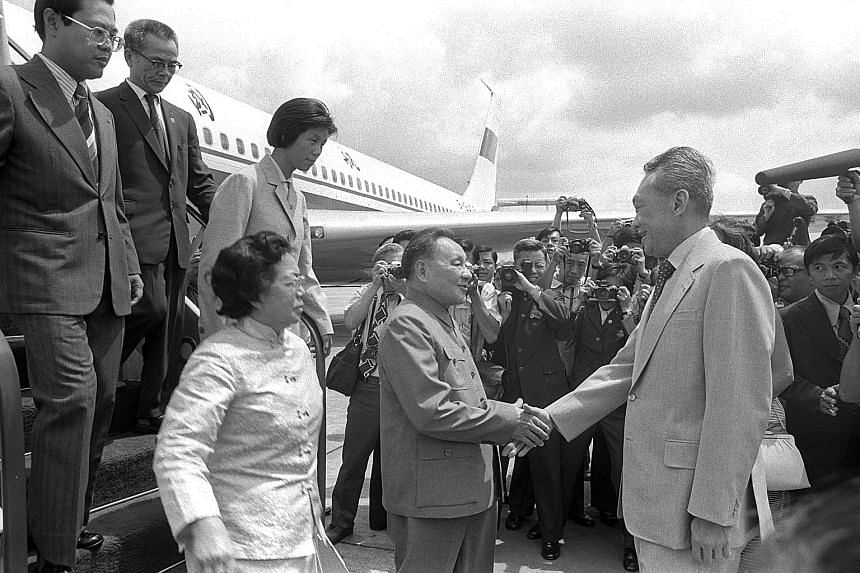 China's then-Senior Vice-Premier Deng Xiaoping being welcomed to Singapore by Prime Minister Lee Kuan Yew. Mr Deng, at the age of 74, made his first and only official visit to Singapore on Nov 12, 1978.