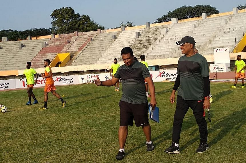 Singaporeans Akbar Nawas (holding file) and K. Balagumaran are head coach and assistant coach, respectively, of current I-League table-toppers Chennai City.