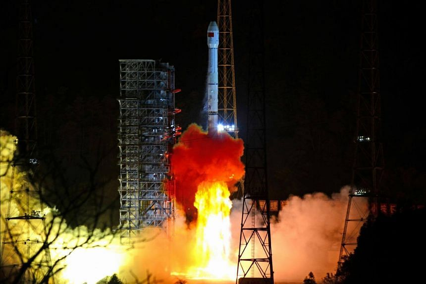 A rocket carrying the Chang'e-4 lunar probe takes off from the Xichang Satellite Launch Centre in Sichuan province, China, on Dec 8, 2018.