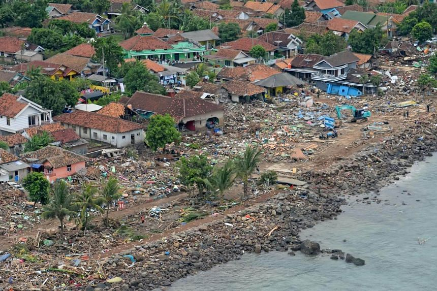 An area damaged by the tsunami at Way Muli village in Rajabasa, South Lampung, Indonesia, on Dec 25, 2018.