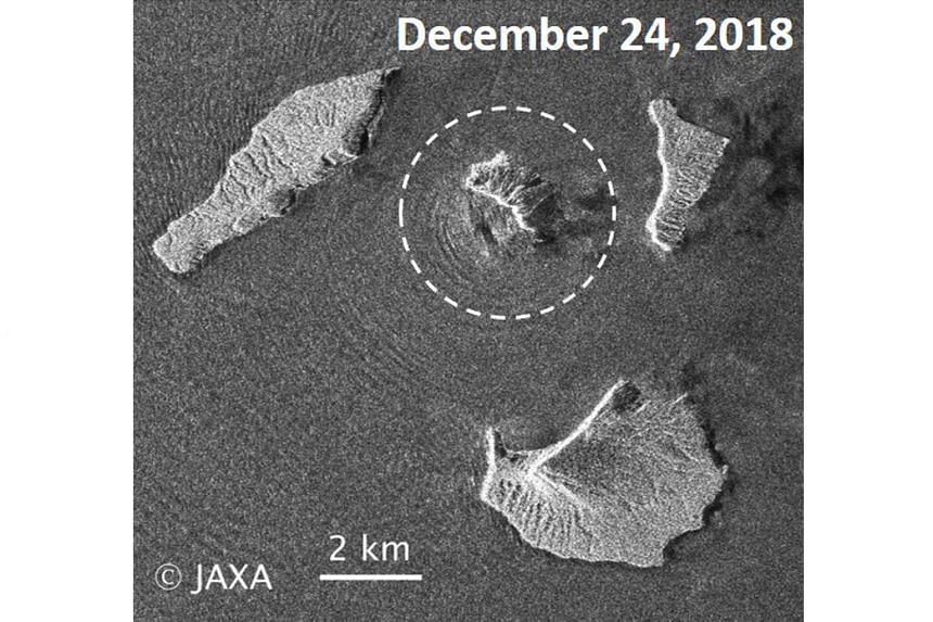 The Anak Krakatau volcano before and after the Dec 22 and subsequent eruptions, seen from Japan Aerospace Exploration Agency satellite photos. The volcano is now about 20 to 25 per cent of its original size, says Indonesia's national geological agenc