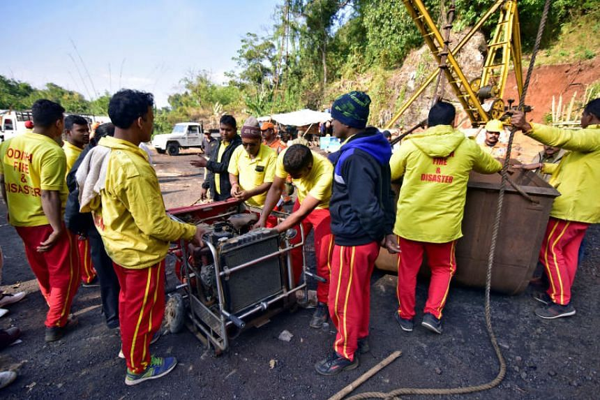 Rescuers preparing a water pump at the site of the coal mine that collapsed in Ksan, in India's Meghalaya state, on Dec 29, 2018.