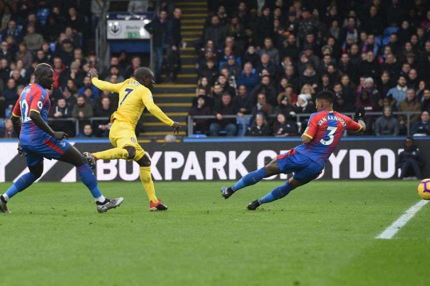 Chelsea's N'Golo Kante (in yellow) scoring his team's only goal against Crystal Palace during their EPL match on Dec 30, 2018.