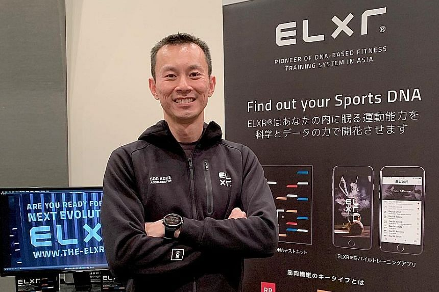 ELXR founder Steffan Fung at the start-up's booth at a pitch day, attended by about 400 Japanese investors, in Tokyo on Dec 10, after a six-week 500 Startups mentorship and accelerator programme in Kobe.