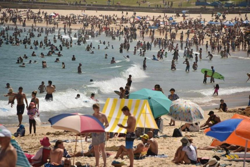 Sunbathers seen on Bondi Beach as temperatures soar in Sydney, on Dec 28, 2018.PHOTO: AFP