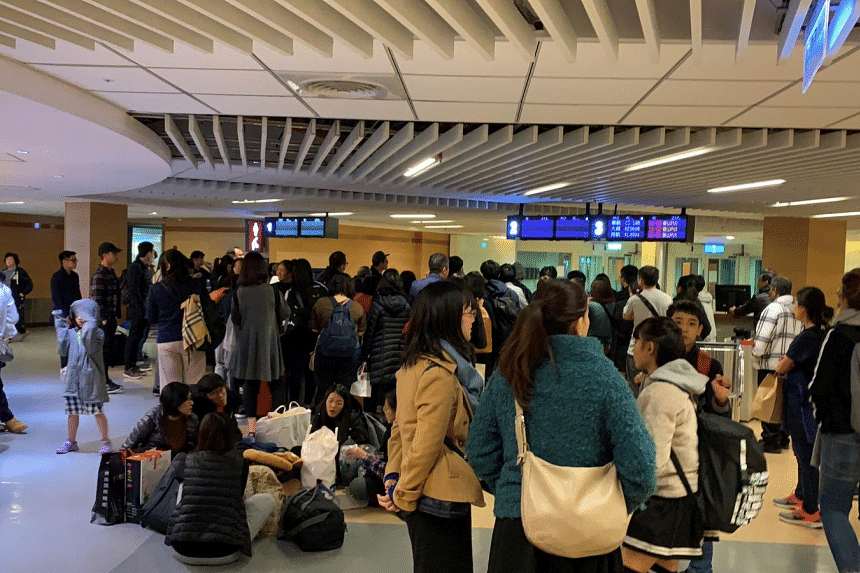 Passengers of the delayed Scoot flight at Taipei Taoyuan Airport on Dec 31, 2018.