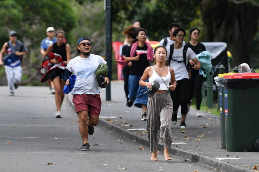 People running to Mrs Macquarie's Point in preparation for the New Year's Eve firework display in Sydney, Australia, on Dec 31, 2018.