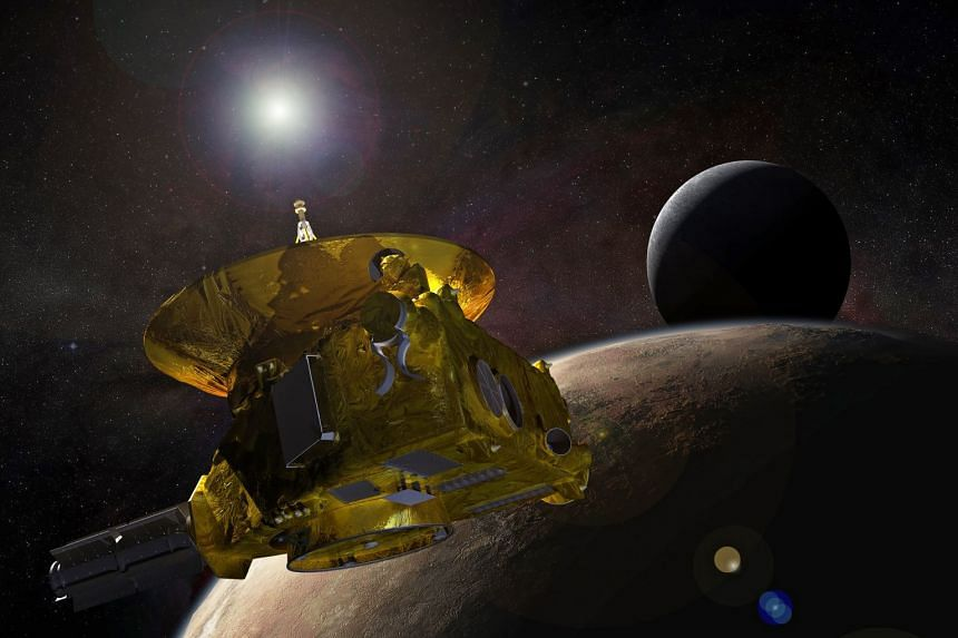 An artist's concept of the New Horizons spacecraft as it approaches Pluto and its largest moon, Charon.