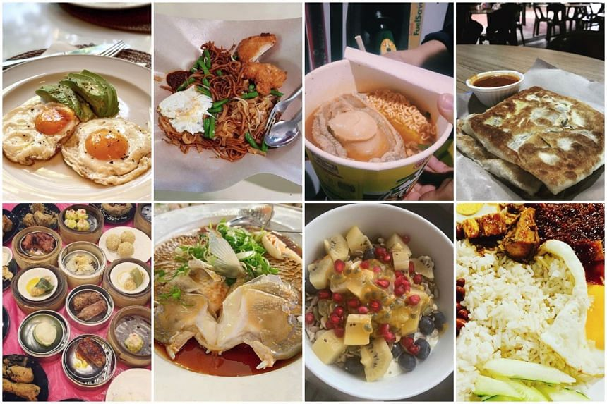 A selection of some of the first meals that were posted on social media by newsmakers and readers of the Straits Times.