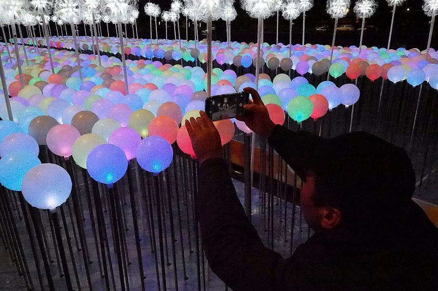 A New Year art installation comprising 2,019 illuminated balloons in front of the Presidential Office Building in Taipei. Taiwan is the focus of Chinese President Xi Jinping's first important, pre-announced public event of 2019. Mr Xi will give a maj