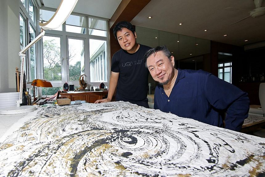 Mark Chan (right), who is a self-taught calligrapher and painter in Chinese ink, will hold an exhibition showcasing his paintings and calligraphy, as well as video projections by multimedia artist Brian Gothong Tan (left) at the Esplanade. Japanese M