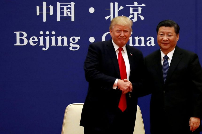 File photo of US President Donald Trump and China's President Xi Jinping at the Great Hall of the People in Beijing, China, on Nov 9, 2017.