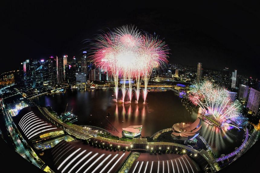 New Year's fireworks as seen from Marina Bay Sands Skypark.