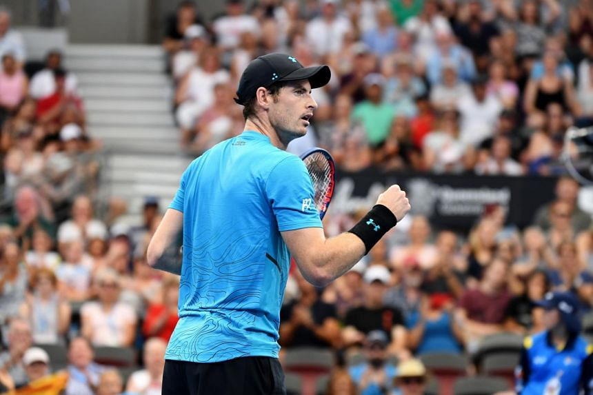 Andy Murray (above) beat James Duckworth 6-4, 6-3 in a touch under 90 minutes in the Brisbane International on Jan 1, 2018.